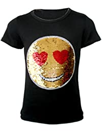Enfants Emoji Emoticon Smiley Visage T Shirt Tee Top Brosse Changement Sequin Âge 3-14 Ans