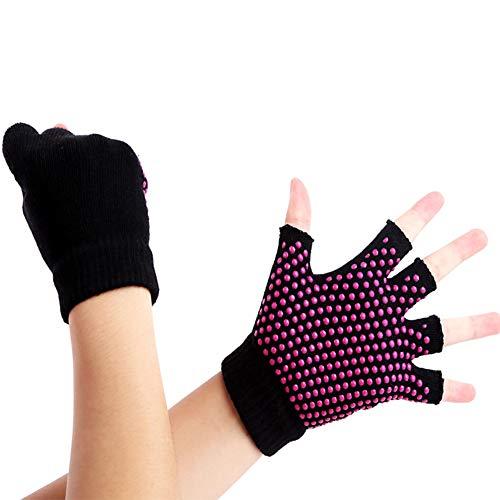 Yoga Handschuhe Rutschfeste Frauen Sport Silikon Gel Half Finger Pilates Handschuhe Fingerlose Fitnesstraining Fahrradhandschuhe