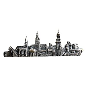Hamburger Krawattennadel Krawattenklammer 6,2 cm – Skyline Hansestadt Hamburg antikfarben matt m.i. Germany + Box