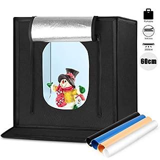 Amzdeal Fotostudio Lichtzelt 60 * 60 * 60CM, Faltbar Lichtwürfel für Professionelle Fotografie,Tragbare Beleuchtung Studio Schießen Zelt Box mit LED und 4 Hintergründe (Weiß Schwarz Orange Blau)