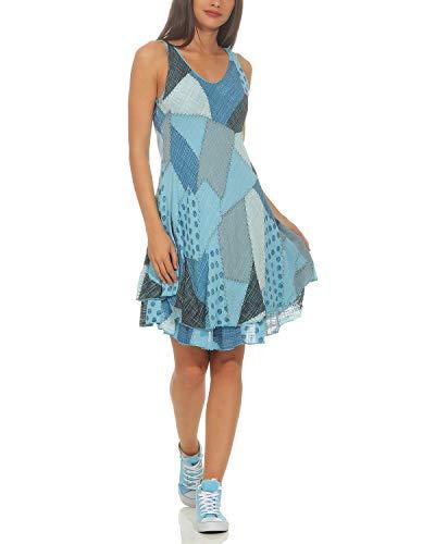 ZARMEXX Damen Sommerkleid Strand Kleid Patchwork-Print Ärmellos doppellagig A-Linie hellblau One Size (36-40) - Strand Kleid Am