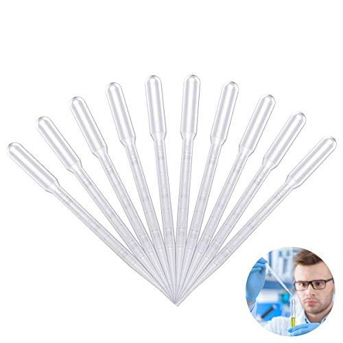 OZUAR 100 Pezzi Pipette Plastica Trasparente Lavabile Eliminabile delle Pipette 3ml di Plastica per Le Vernici Acriliche di Esperimento del Laboratorio Che Disegnano Gli Strumenti di Trucco Chiari