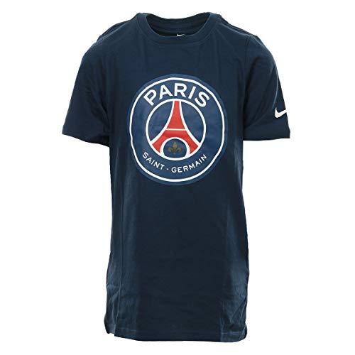 Nike PSG B NK Tee Evergreen Crest T-Shirt Paris Saint Germain, Kindergröße, blau (Midnight Navy)