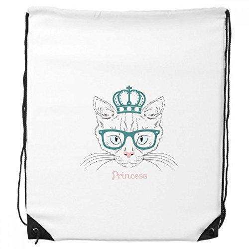 Krone Sonnenbrille Weiß Katze Prinzessin Schützen Animal Pet Lover Kordelzug Rucksack feine Linien Shopping Handtasche Kreatives Geschenk Schulter Umweltfreundliche Tasche aus Polyester