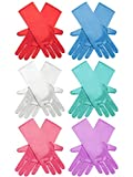 Zhanmai 6 Paires Princesse Dress Up Gants Brillant Satin Gloves Soyeux pour Costume Enfants, Mariage, Concours Officiel, 3 à 8 Ans (6 Couleurs)