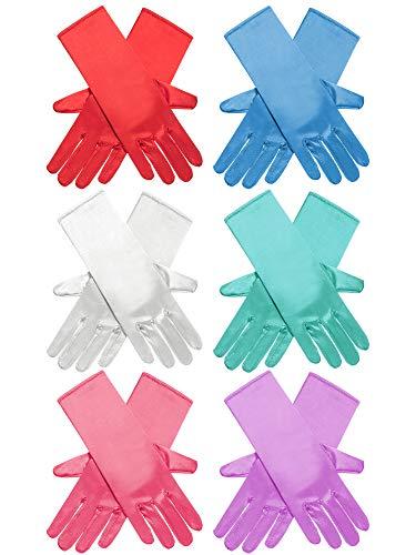Zhanmai 6 Paar Prinzessin Verkleiden Lange Handschuhe Glänzend Seidig Satin Handschuhe für Kinder Kostüm Party, Hochzeit, Formale Pageant, Alter 3 bis 8 Jahre alt (6 Farben)