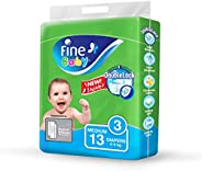 Fine Baby Double Lock, Size 3, Medium, 4-9 kg, 13 Diapers