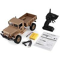 FY001A 2.4Ghz 1/16 4WD Off-Road RC Military Truck Escalador Crawler RC Control Remoto del Coche con luz Frontal para niños Toy Gift (Color: Amarillo)