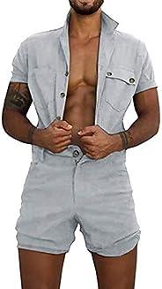 Vertvie Heren hemd Shorts zomer jumpsuit ademend comfortabel overall thuis kledingknop tas mode vrijetijdspak