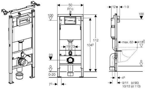 Geberit Duofix Basic UP 100 WC-Vorwandelement WC SET mit Platte Delta 21 weiß, Schallschutzset