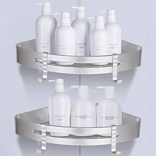 2 pezzi mensola doccia per bagno mensole da muro senza foratura - mensole ad angolo con 4 ganci - porta shampoo sapone per doccia - alluminio portaoggetti doccia (triangolo) - adhesive wall mounted