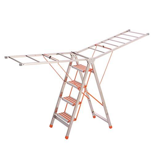 Multifunktions Zweifach verwendbare Metallleiter, Klappbare Edelstahlleiter Balkon Wohnzimmer Fünf Stufenleiter Vierstufige Außenleiter stabil (Farbe : B, größe : 50 * 188 * 105CM)