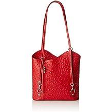 CTM Tasche Damen Leder Schulter Strauß, 28x30x9cm, 100% echtes Leder Made in Italy