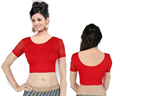 Fertige, Free Size Saree Blouse, Blusen, Bollywood, Sari, Goa, Indien, Hochzeit, Kleid, Oberteil, Party,187 (Red) -