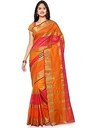 Brahmani Enterprise Women's Cotton Stripe Saree With Blouse Piece (Fanta_Multicolour_Free Size)