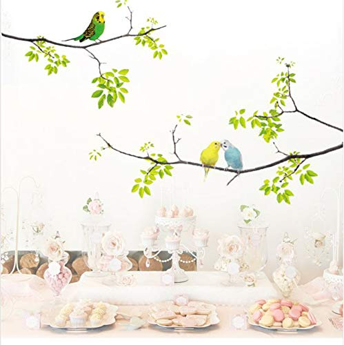 yezun Wall Decals Birds on Tree Peel and Stick Fresh Removable Wall Stickers for Kids Living Room Bedroom Nursery Room1Pc (Tree-stick Auf)