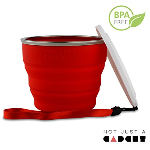 COLLAPSIBLE TRAVEL CUP – 100% FOOD-GRADE SILICONE MUG FOR CAMPING AND HIKING, RED – BY NOT JUST A GADGET SPORTS BEST PRICE REVIEW UK
