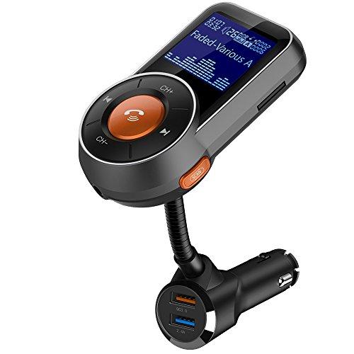 FM Transmitter Wireless Auto Radio Adapter, Bluetooth Freisprecheinrichtung Car Kit, TF Karte/Bluetooth/Audio Kabel Musik Spieler, 1.4 in Drehbar LED-Anzeige, 2 USB Ladegerät mit Schnellladung