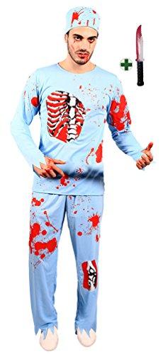 Doktor Horror Kostüm - Karneval-Klamotten Zombie Dokter Herren-Kostüm INKL. Messer Horror Herren-kostüm blutiger Doktor Chirurg Arzt Halloween Größe 52/54