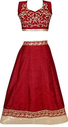 J.AnanD Girls Party Wear Bhaglpuri Semi Stitched Free Size Lehenga Choli For...
