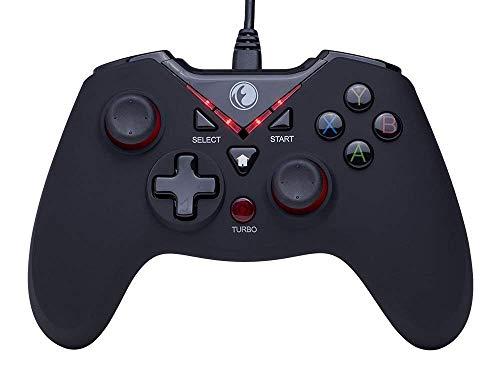LUYION Gamepad Controller di Gioco USB Cablata Dual Shock Plug Telecomando da Gioco Joypad Turbo Pausa PS3 Compatibile con Telefono Android Tavoletta/PC/TV TV,Red