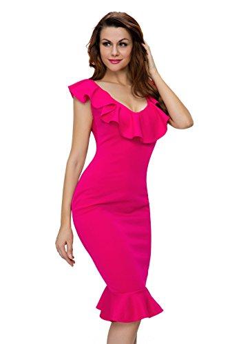 La vogue Damen Schulterfrei Spleiß Volants Sommerkleid Dress Rose