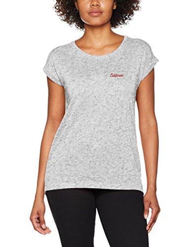 Q/S designed by - s.Oliver Damen T-Shirt 41704324322 Grau (Light Grey Melange Placed 90D2) X-Large