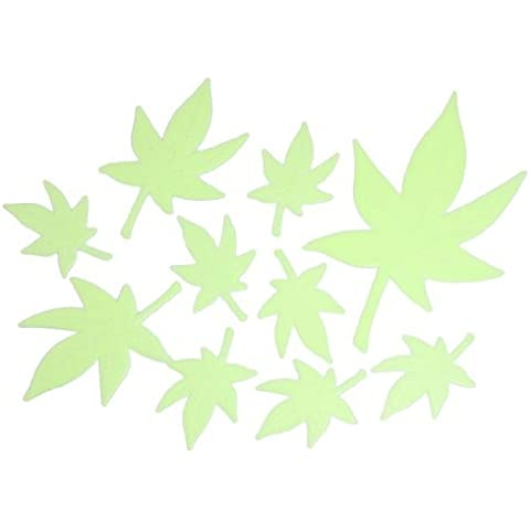 Water & Wood 10 Pcs Maple Leaf Fluorescent Luminous Stickers Door Wall Ornament