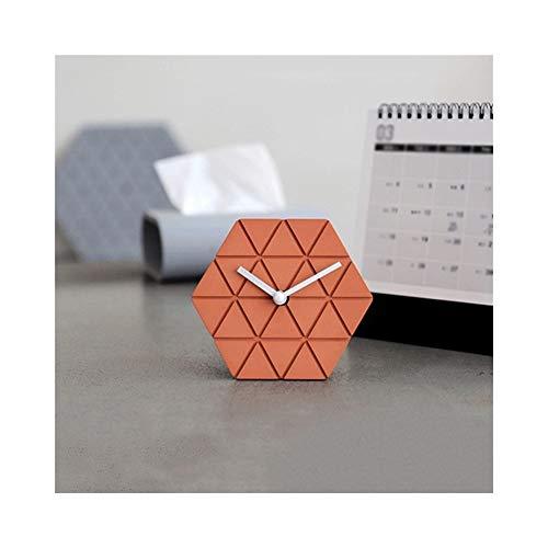 Wecker Batteriebetrieben Stumm Nicht tickt Dekoration Präzise Leise Einfach zu bedienen Schlafzimmer Nachttisch Regal Zement (Color : B, Size : 12cm*4cm*10.5cm)