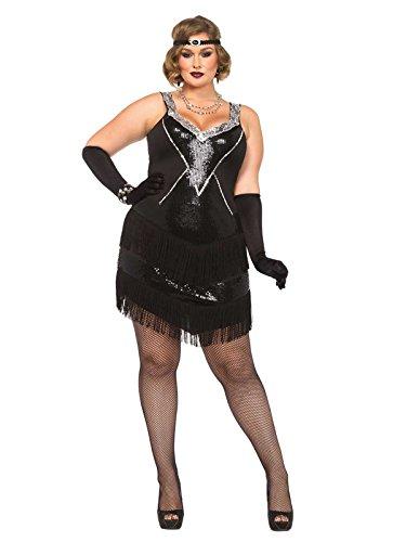 20er-Jahre Flapper Plus Size Damenkostüm Charleston schwarz-silber (Flapper Plus Size Kleid Kostüm)