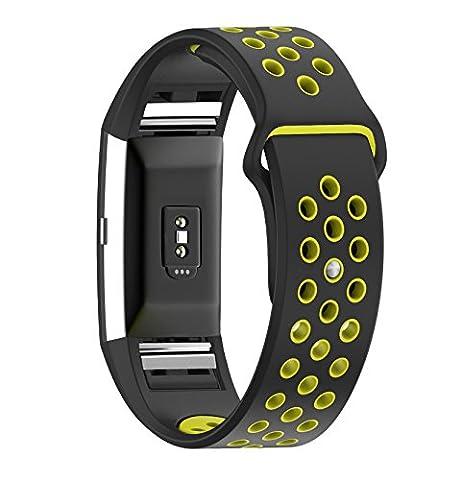 Bracelet, électrique, accessoire de fitness tracker d'activité accessoire de Coque en silicone Bracelet de montre bracelet Sangle pour Fitbit Charge 2, femme Homme, Jaune/noir