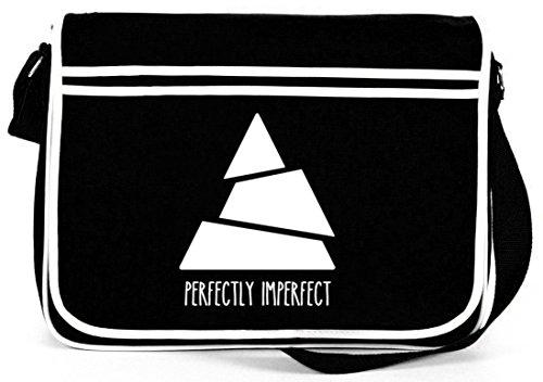 Perfectly Imperfect, Triangle Dreieck Retro Messenger Bag Kuriertasche Umhängetasche Schwarz