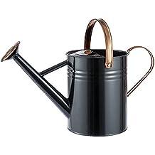 Regadera vintage de metal de 4,5 litros (1 galón) (negra)