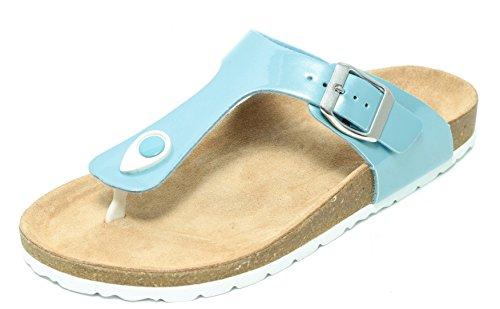 Damen Bio Clogs Pantolette Sandale Slipper Zehentrenner Tieffußbett PASTELL BLAU Gr. 37–41 (39)