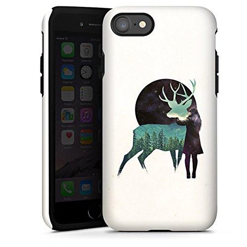 Apple iPhone X Silikon Hülle Case Schutzhülle Hirsch Mädchen Mond Tough Case glänzend