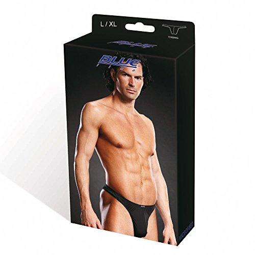 Blueline Men's Microfiber Thong, Black, Large/X-Large