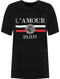 WearAll Women's Plus Amour Paris Slogan Foil Print Baggy Short Sleeve T-Shirt Ladies Top 14-28