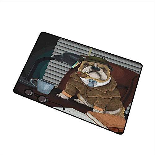 Kinhevao English Bulldog Haustürmatte Teppich Traditioneller englischer Detektivhund mit Pfeife und Hut Sherlock Holmes Image Waschmaschinengeeignete Türmatte Multicolor Bath Mat (Pfeife Holmes Sherlock Und Hut)
