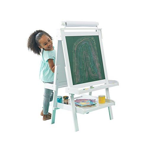 KidKraft 62040 Chevalet d'artiste enfant en bois Deluxe avec rouleau de papier, incluant 2 pots à peinture refermables - coloris blanc