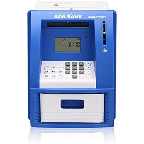 Excelvan Juguete Hucha Cajero Automatico (Acepte Billetes Monedas, LCD Digital, Sonido alarma, Mini Trajeta Banco),