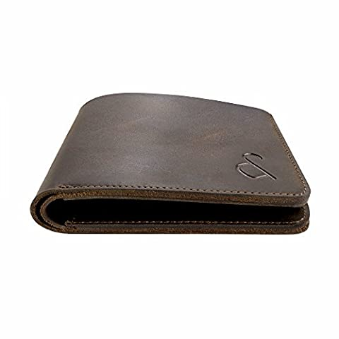 Grant & Scott Crazy-Horse Mens Genuine Leather Slim-line Luxury Wallet with Assisted RFID