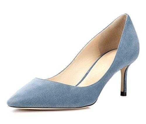 uBeauty Damen High Heels Wildleder Stilettos Slip-On Pumps Spitze Zehen Klassischer Übergröße Schuhe 65MM Heels Pumps Hellblau 41.5 EU