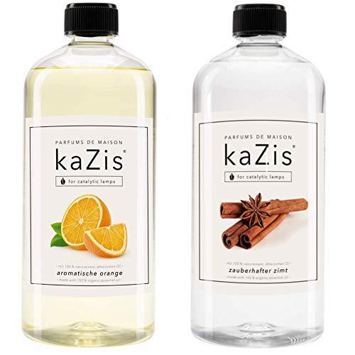 KAZIS I Duft-Set Winter I Passend für alle katalytischen Lampen I Zimt + Orange I 2 x 1000 ml I 2 x 1 Liter
