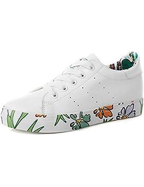 ALUK- Primavera Y Otoño Versión Coreana De La Tendencia De Los Zapatos Plano-Bottomed De Impresión ( Color : Blanco...