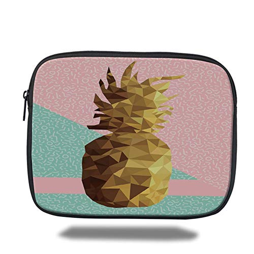 Tablet Bag for Ipad air 2/3/4/mini 9.7 inch,Indie,Retro Summer Concept Pineapple Fruit in Poly Design Memphis,Light Pink Mint Green Light Brown