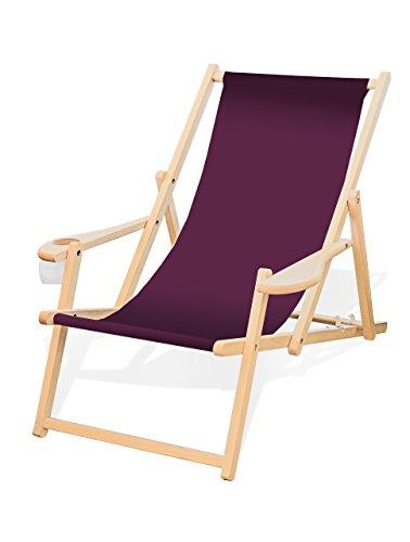 Holz-Liegestuhl mit Armlehne und Getränkehalter, Klappbar, Wechselbezug