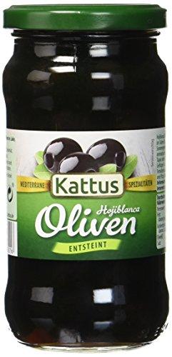 Kattus Spanische schwarze Oliven, entsteint, 4er Pack (4 x 160 g)