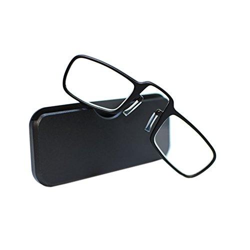 Zhuhaixmy Neue Mini-Lesebrille Clip Nase Presbyopic Brille mit Box Wallet Rezept Eyewear Degree 1.0 bis 3.5 schwarz