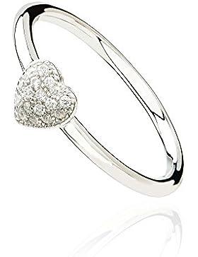 Eye Candy Damen-Ring Herz 925 Sterling Silber rhodiniert mit 17 weißen Zirkonia Steinen Größen 52/54/56