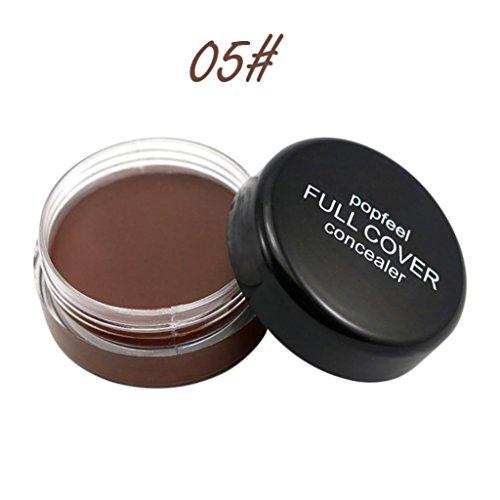 Toamen Concealer Hydratant Palette de base crémeuse Maquillage pour le visage couleur naturelle durable imperméable 5 Couleurs pour Femmes (E)
